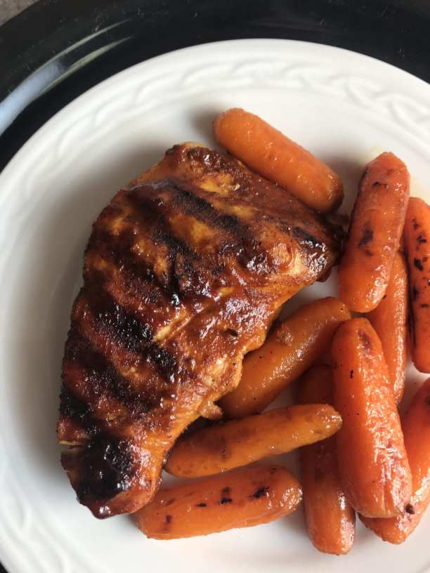 delicious maple glazed chicken and carrots