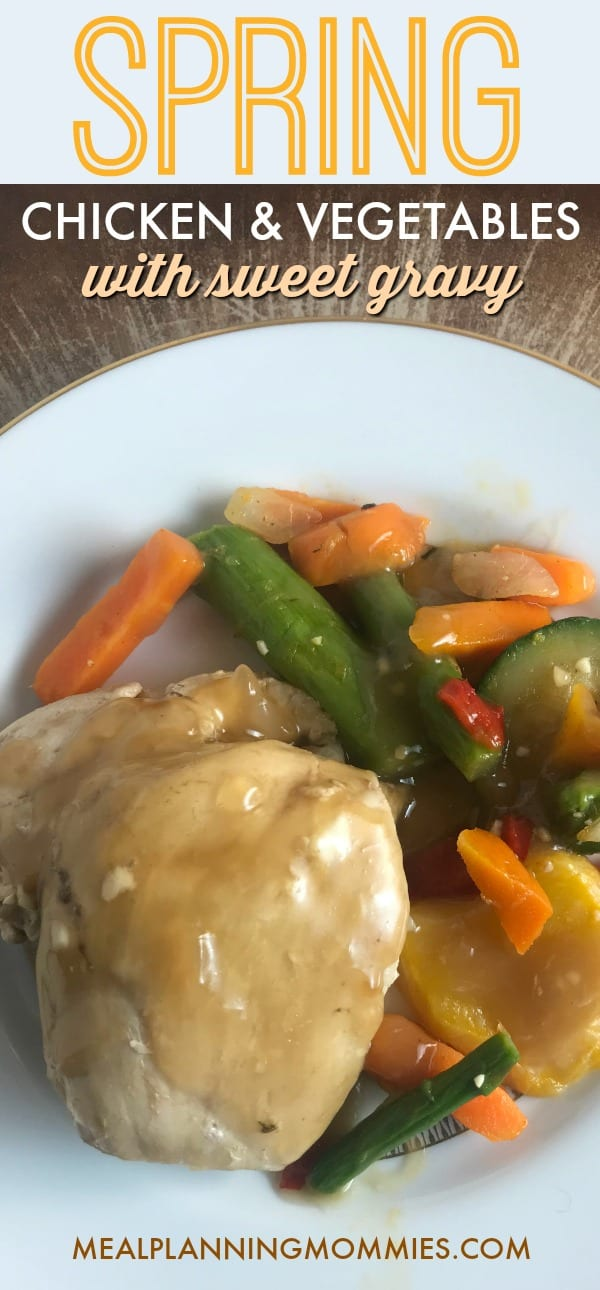Spring Chicken and vegetables with sweet gravy on Meal Planning Mommies - Just 2 Weight Watchers SmartPoints per serving!