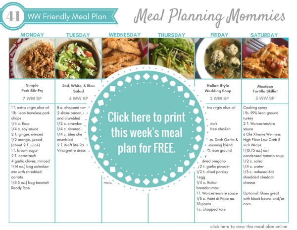 Free Weight Watchers meal plan with freestyle smartpoints on Meal Planning Mommies. Free printable grocery list included.