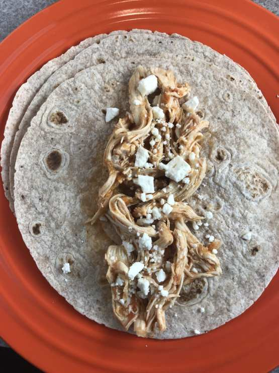 How to make delicious Salsa Ranch Shredded Chicken Burritos with feta cheese. Delicious!!