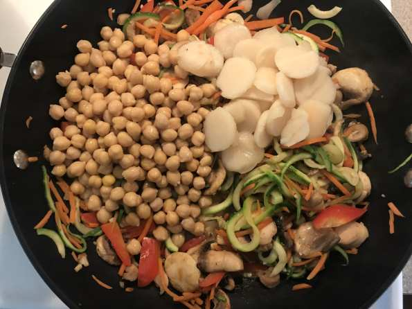 Add in some protein and crunch with chickpeas and water chestnuts.