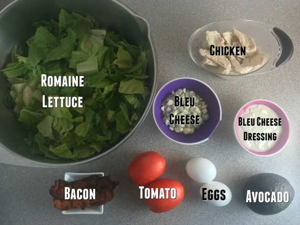 Ingredients for delicious California Cobb Salad on Meal Planning Mommies