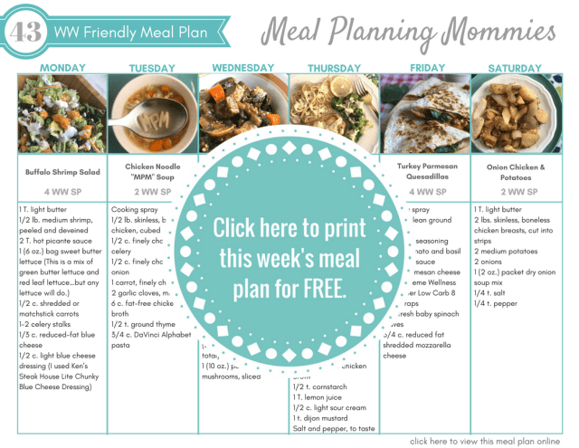 Click here to get to this free One week Weight Watchers friendly meal plan on Meal Planning Mommies.