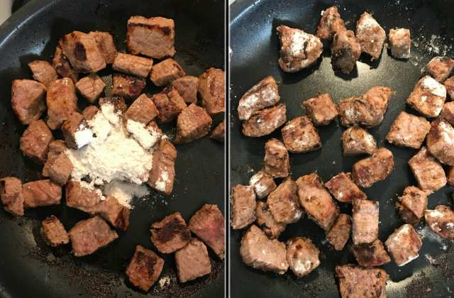 Toss steak in flour before adding to the slow cooker for beef burgundy.