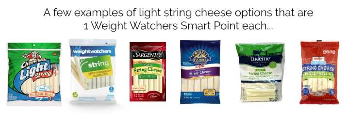 Examples of light string cheese options that are just 1 Weight Watchers Smart Point each.
