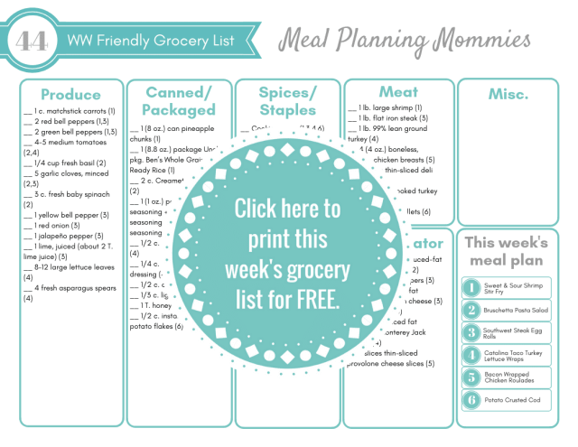 Click here for the free printable grocery list that comes with the Weight Watchers meal plan #44 on Meal Planning Mommies.