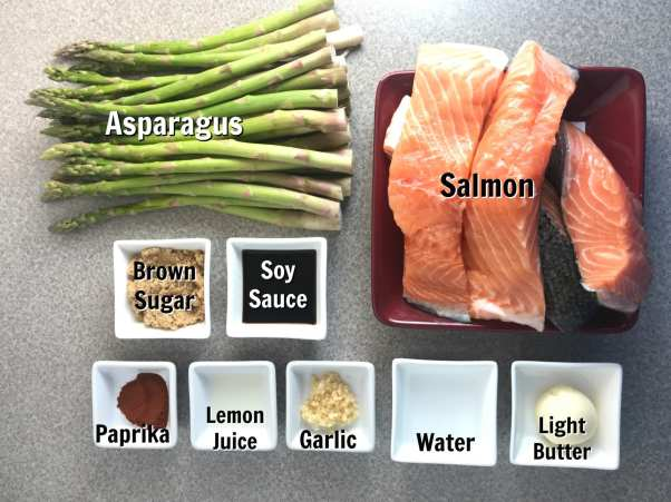 Ingredients for delicious Garlic Brown Sugar Salmon and Asparagus on Meal Planning Mommies - Just 3 WW FreeStyle Smart Points per serving.