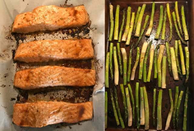 Beautiful and delicious. This brown sugar/garlic salmon and asparagus is amazing! Just 3 WW FreeStyle Smart Points per serving.