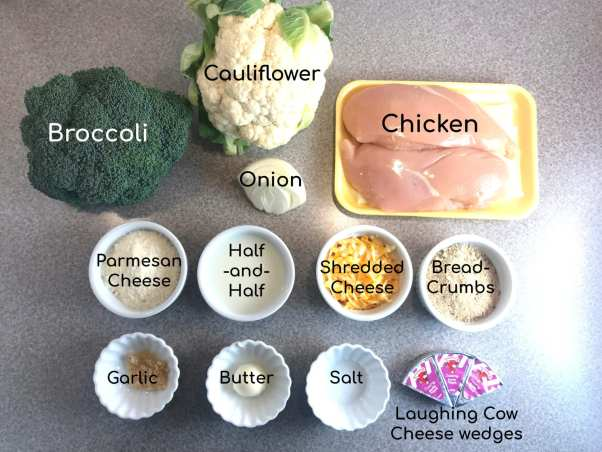 Ingredients to make a Cheesy Chicken Floret (broccoli and cauliflower) Bake - Just 3 WW FreeStyle SP per serving.