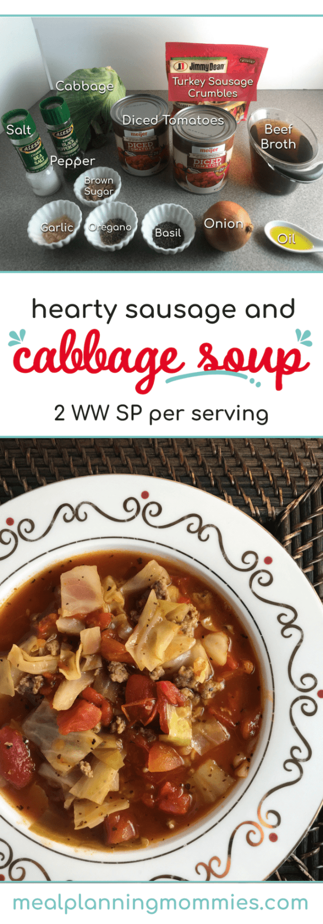 Hearty sausage and cabbage soup on Meal Planning Mommies - Just 2 WW FreeStyle SP per serving!