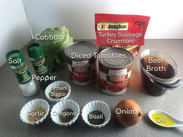 Ingredients to make a simple and delicious Sausage and Cabbage Soup - Just 2 WW SP per serving!