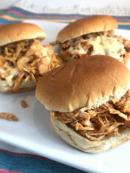 Great WW Super Bowl Party snack: Simple Slow Cooker BBQ Chicken Sandwiches