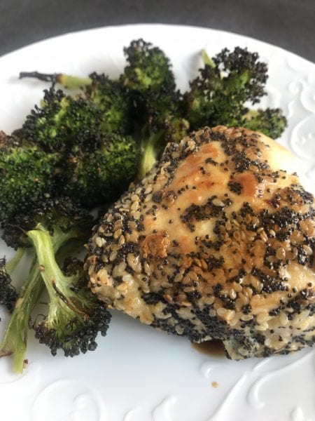 This Double Seeded Chicken uses poppy seeds and sesame seeds to create a crunchy outside to chicken breasts. Healthy and delicious! 3 WW SP per serving.