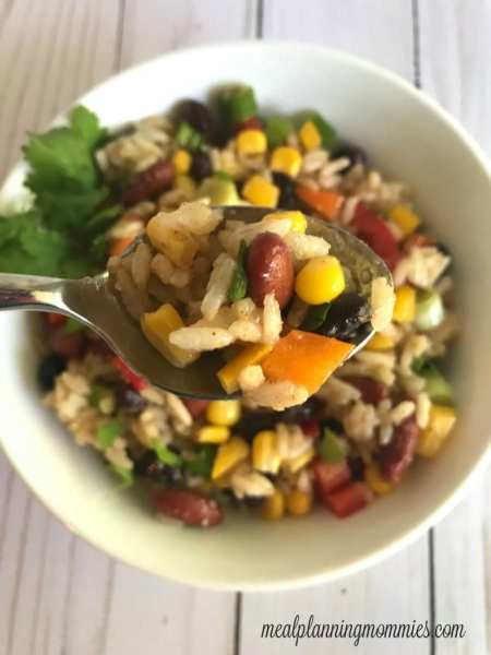 Rainbow Bean and Rice Salad: Great WW Super Bowl Party snack!