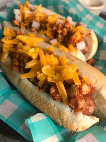 Great WW Super Bowl Party snack: Chili Cheese Dogs - 5 WW FreeStyle SmartPoints per chili cheese dog