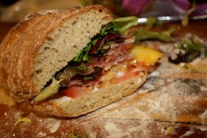 Peach, Pancetta, Lettuce, and Tomato Sandwiches