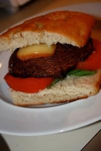 Portabella, tomato and basil focaccia burger