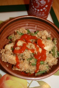 Japanese quinoa with chicken and green beans