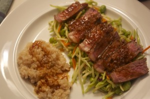 Steaks with Citrus-Soy Sauce and Edamame Slaw