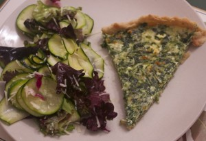 Spinach Quiche with Zucchini Carpaccio Salad