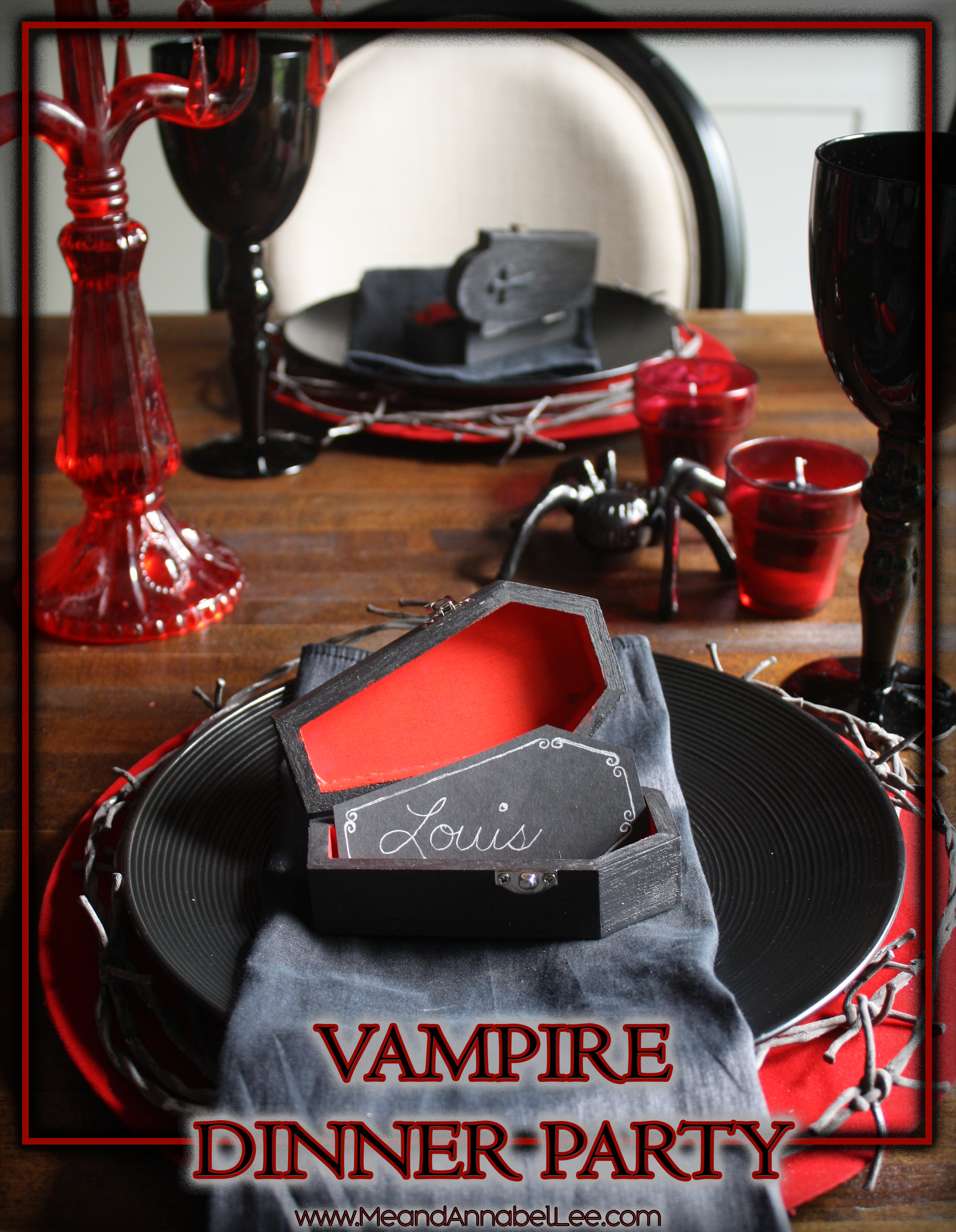 vampire dinner party | halloween place setting | me and annabel lee
