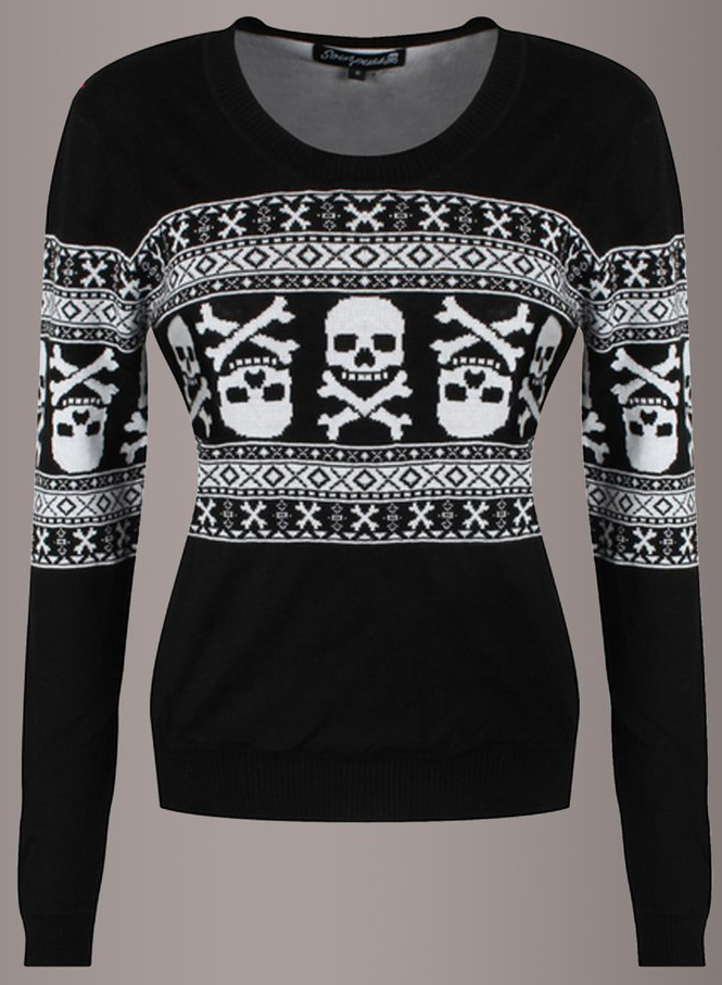 e447f49555 15 Ugly Gothic Christmas Sweaters and Accessories - Skulls