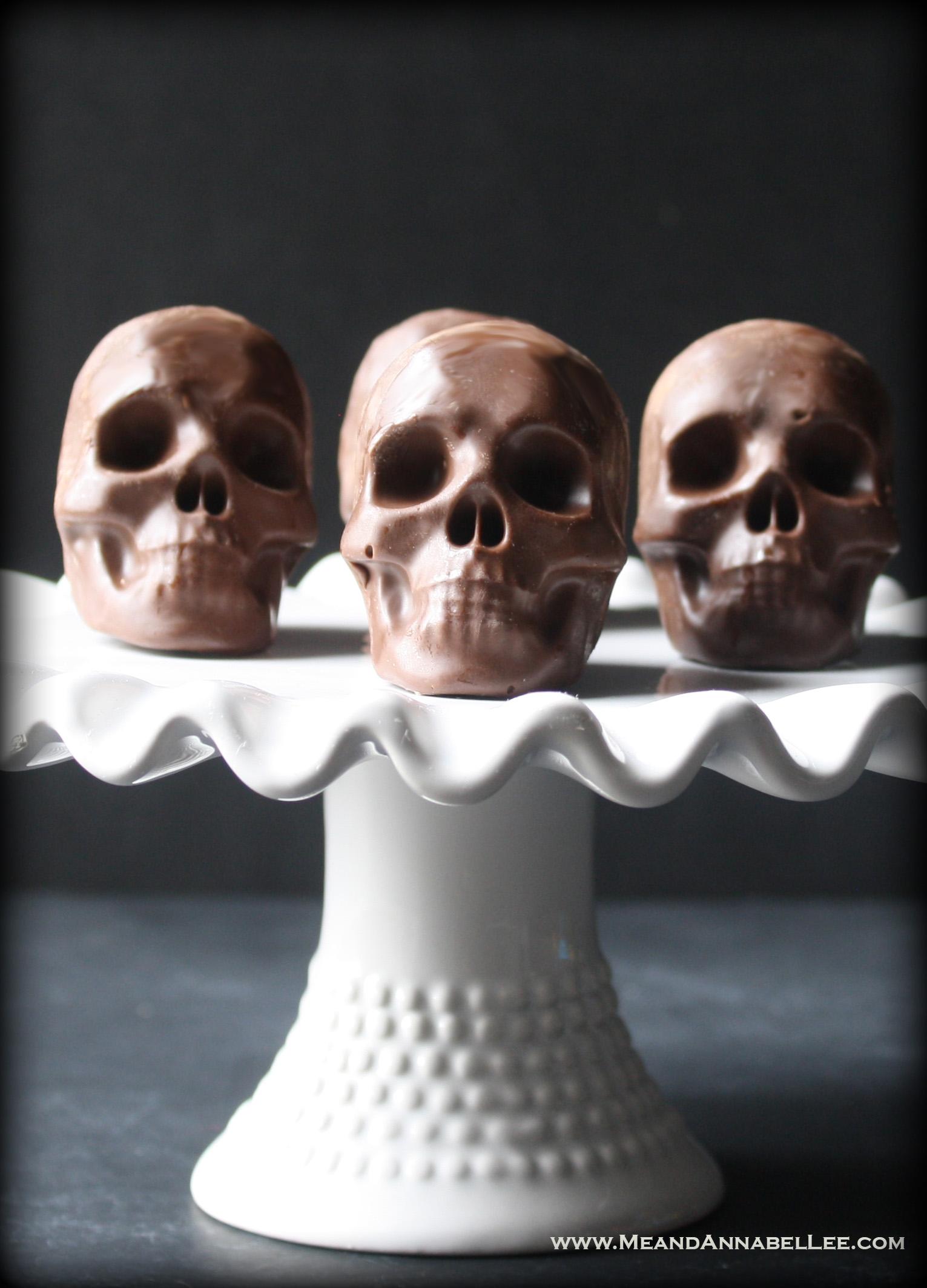 Raspberry Dark Chocolate Skulls   Dark Valentine   Halloween Treats   Gothic Baking   www.MeandAnnabelLee.com