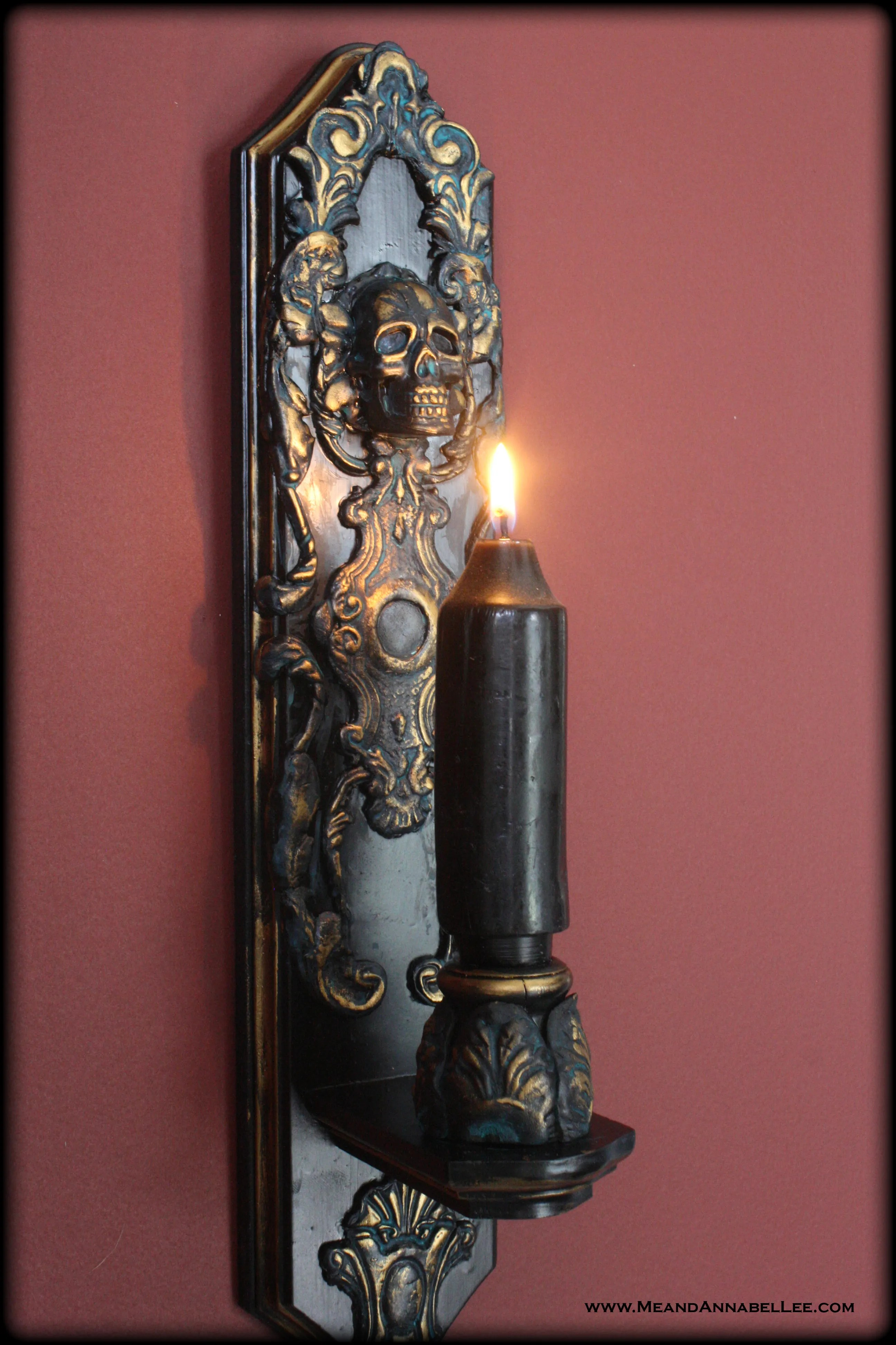 DIY Gothic Baroque Skull Candle Sconces | Me and Annabel Lee