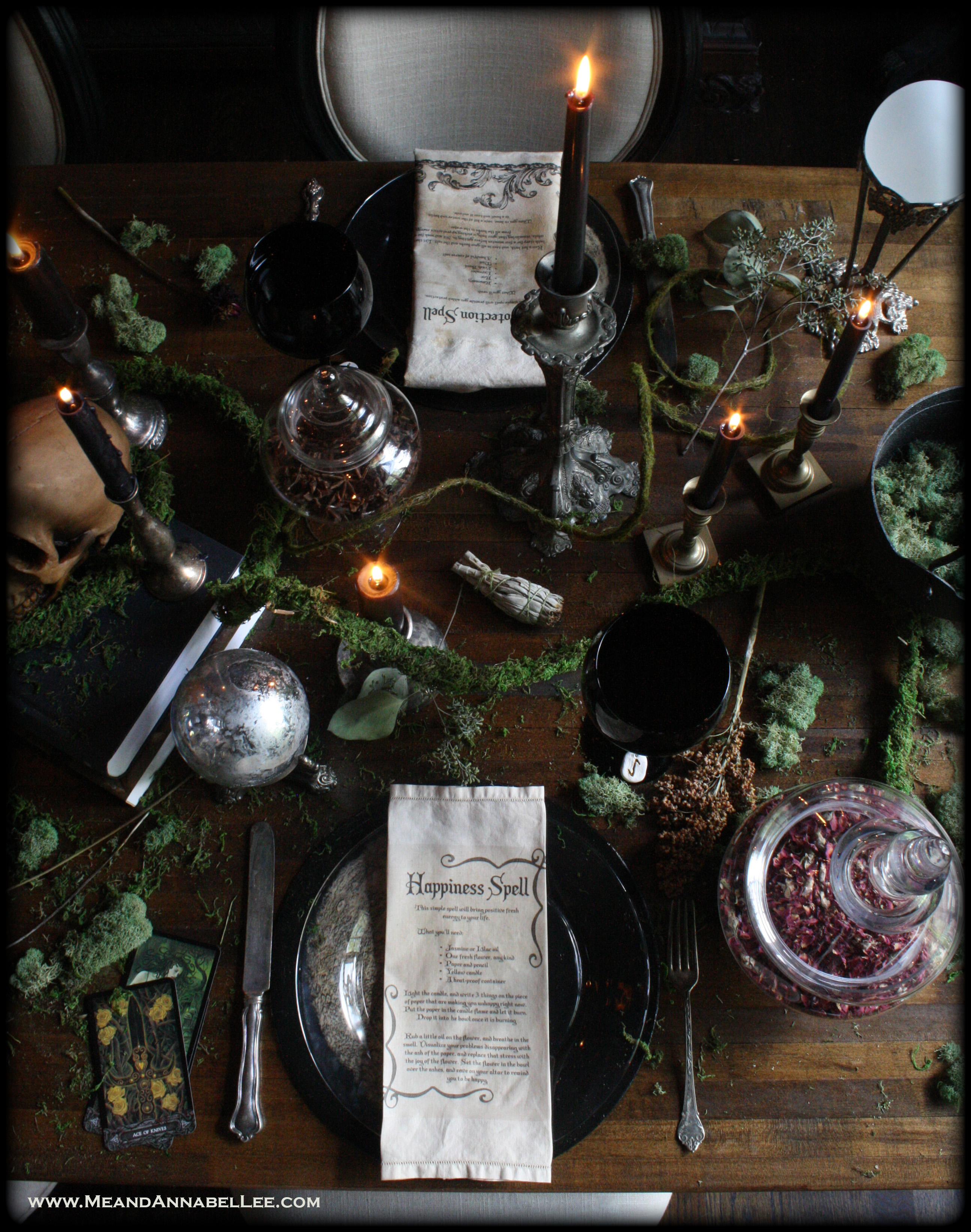 Halloween Dinner Table Setting.Diy Vintage Tea Stained Witches Spell Napkins Halloween