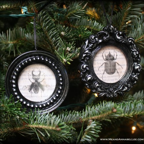DIY Gothic Christmas Ornaments | Vintage Beetle Specimens | Halloween Everyday | Black Xmas Decor | www.MeandAnnabelLee.com