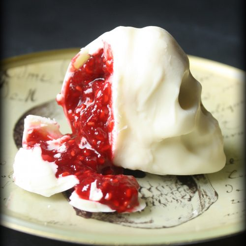 """Bloody"" Raspberry filled Chocolate Skulls | Dark Valentine | Halloween Treats | Gothic Wedding | www.MeandAnnabelLee.com"