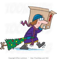 woman hauling tree