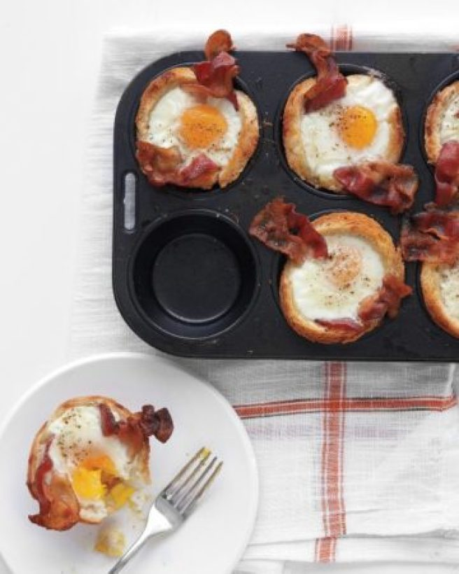 bacon, egg, and toast in a Tin