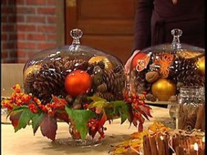 Fall or Christmas...a domed cake plate is a pretty centerpiece. You may remember this from a post from last year....