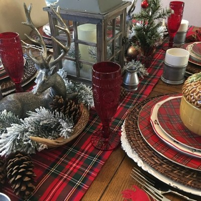 A Pewter And Plaid Christmas Tablescape, Revisited !!!