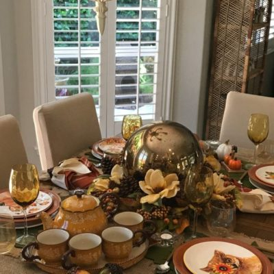 Fall Tablescape Blog Hop Using Magnolias And A Sphere!