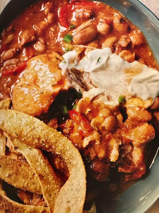New Mexico chicken bean adobo soup