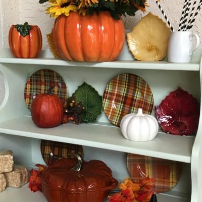 hutch with fall decor.