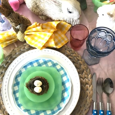 Easter Pastel Gingham Tablescape With Bunnies