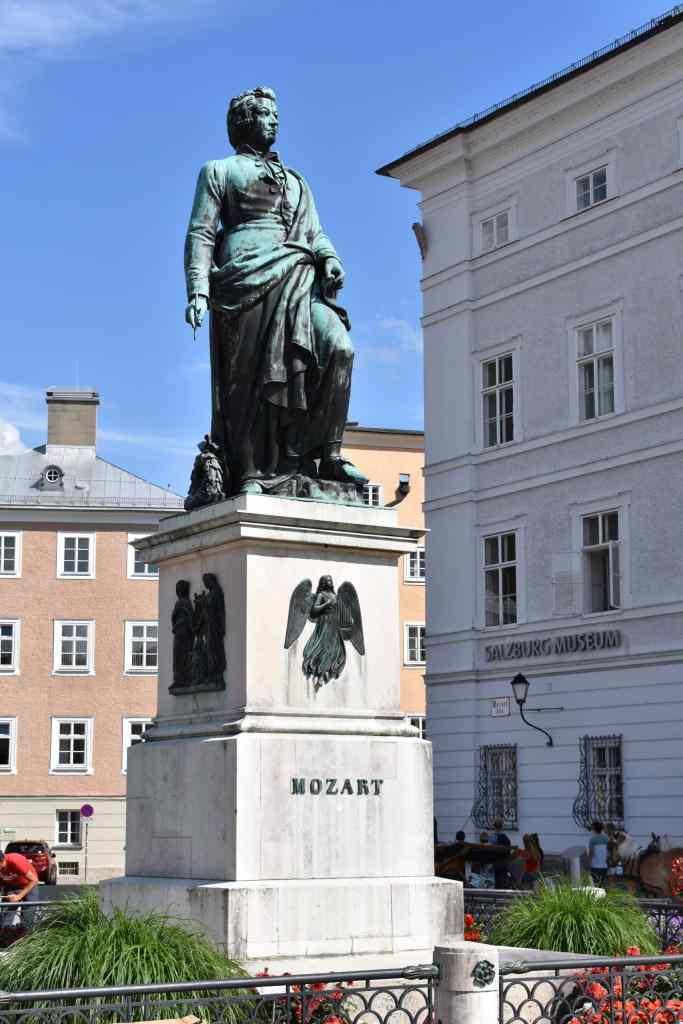 Mozart statue in Mozartplatz salzburg austria