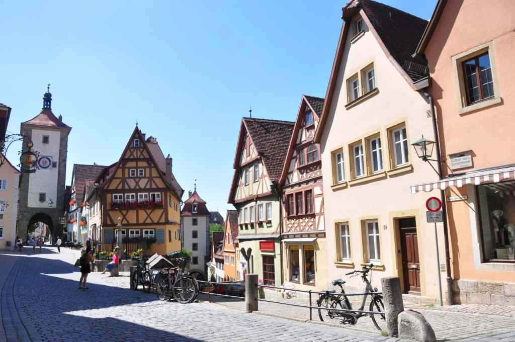 timbered houses and cobblestone streets in Rothenburg ob der Tauber