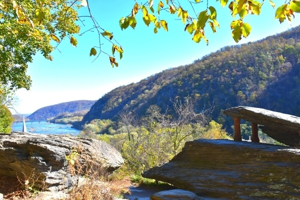Jefferson's Rock overlooks the town of Harpers Ferry, WV and the confluence of the Potomac and Shenandoah Rivers, nestled in the mountains.