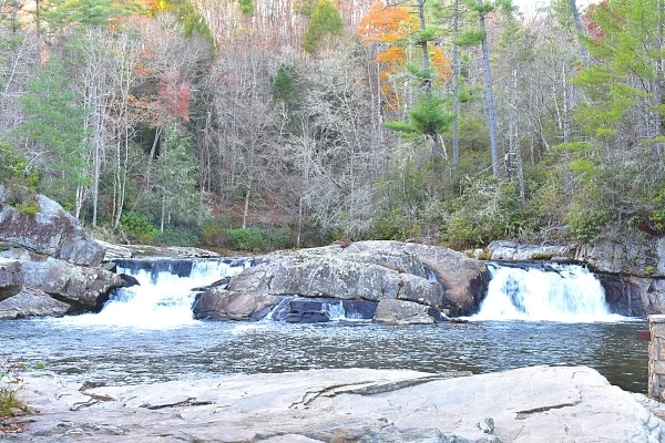 Linville Falls upper viewpoint tucked into the autumn woods off of the Blue Ridge Parkway in North Carolina