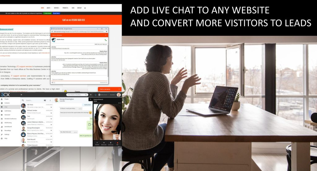 3CX live chat on any page