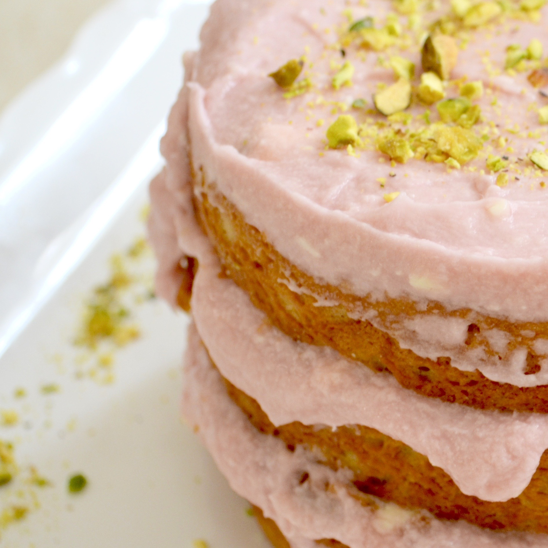 Pistachio Cake With Rosewater Buttercream Frosting Measuring Cups