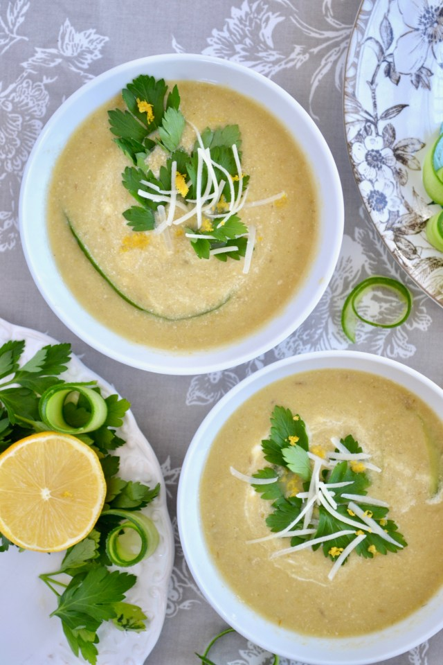 Garlicky Roasted Asparagus & Tahini Soup