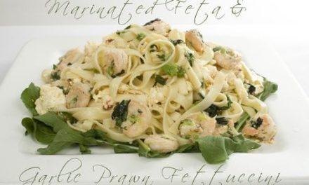 Marinated Feta & Garlic Prawn Fettuccini