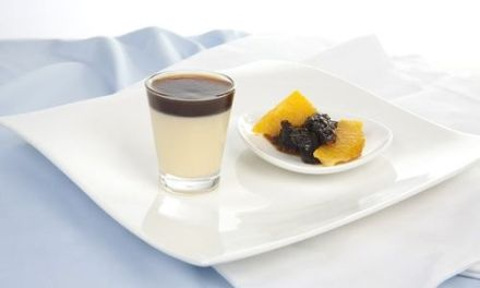White Chocolate & Prune Juice Jelly Panna Cotta w Brandied Fruit Compote
