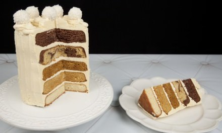 Chocolate Caramel Layered Ombre Cake