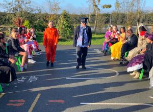 Halloween Art Doncarney Girls School outdoors costumes six